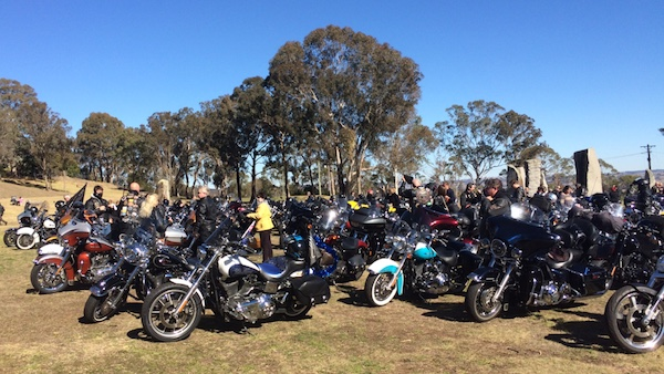 Massed Harley-Davidsons at The Australian Standing Stones site on 31st July 2016