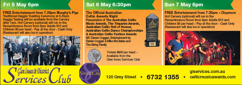 Celtic Festival Events at the Services Club