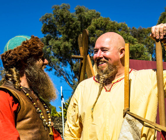 Members of Members of NEMAS at their medieval village installation at the Standing Stones site – Australian Celtic Festival 2017