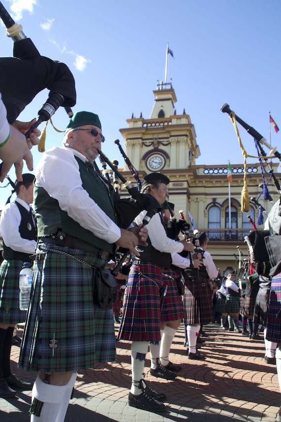 Massed Pipe Bands at the Parade, outside Glen Innes Town Hall – photo by Nicci Parry Jones
